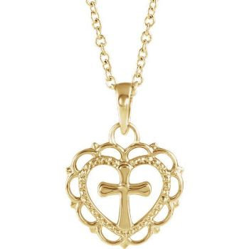 Picture of 14K Gold Heart with Cross Youth Pendant