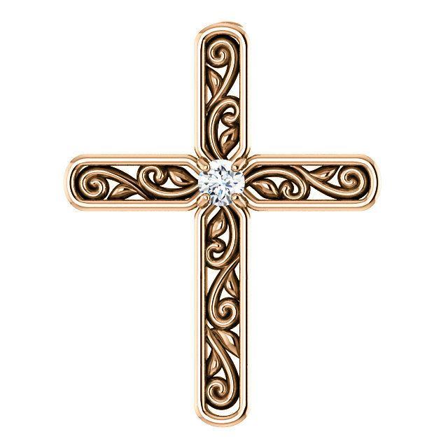 Picture of 14K Gold .03 CTW Diamond Cross Pendant