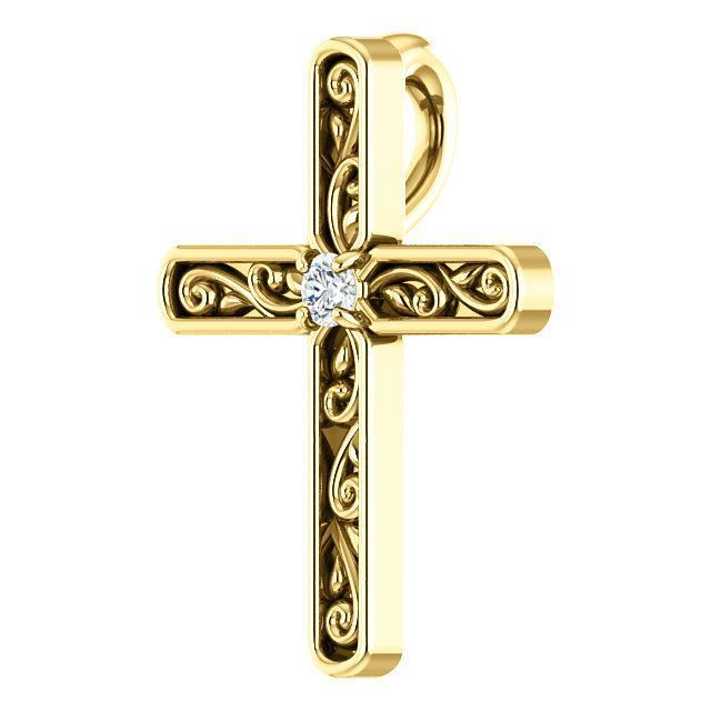 """Picture of 14K Yellow .05 CTW Diamond Off-Center Sideways Cross 16"""" Necklace"""