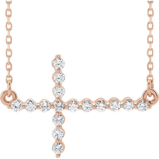 Picture of 14K Gold 1/3 CTW Diamond Sideways Cross Necklace