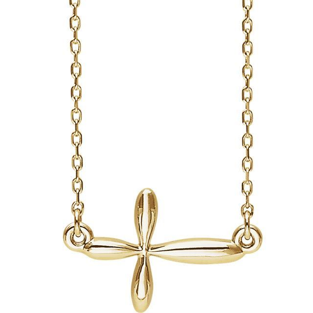 Picture of 14K Gold  Sideways Cross Necklace