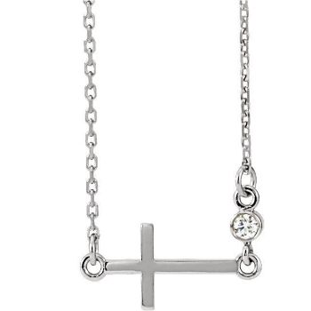"Picture of 14K Gold .03 CTW Diamond Sideways Cross 16-18"" Necklace"