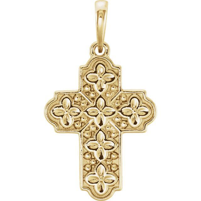 Picture of 14K Gold Ornate Floral-Inspired Cross Pendant