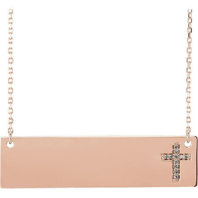 "Picture of 14K Gold Engravable .03 CTW Diamond Cross 16-18"" Necklace"