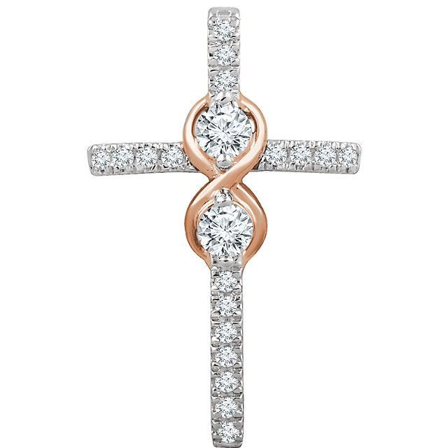 Picture of 14K Gold 1/2 CTW Diamond Cross Pendant