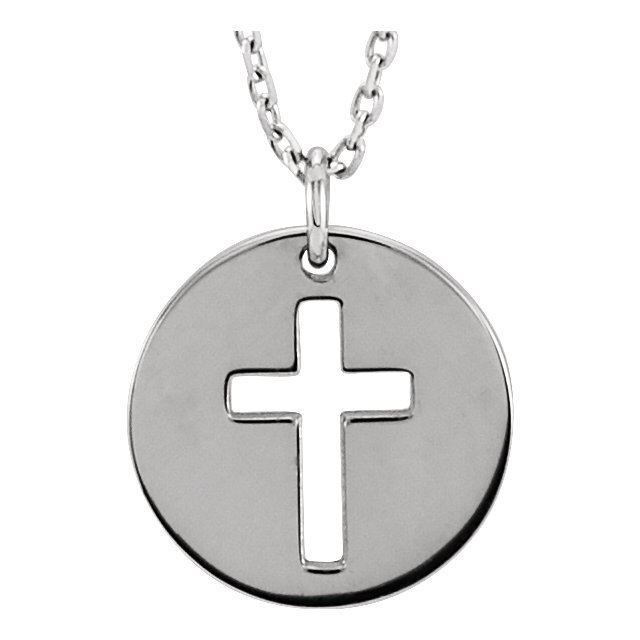 """Picture of 14K Gold Pierced Cross Disc 16-18"""" Necklace"""