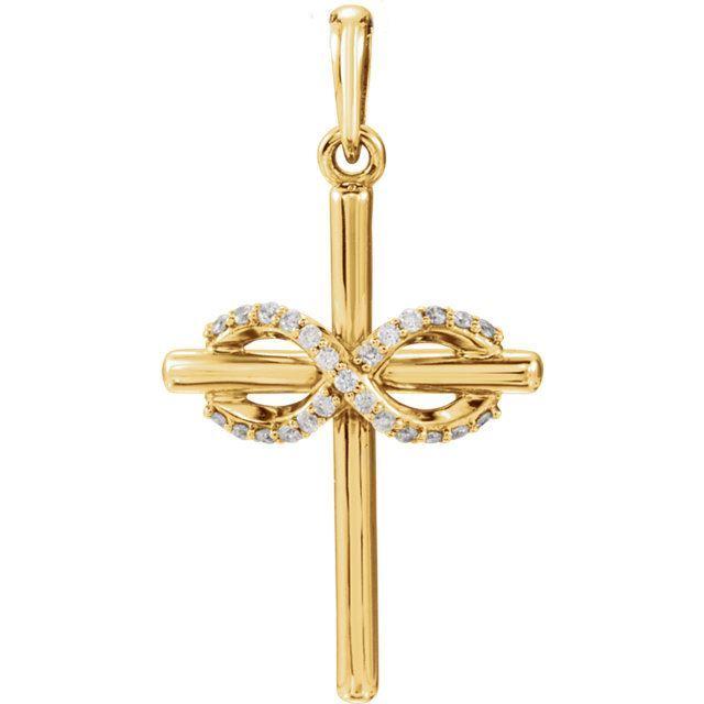 Picture of 14K Gold .06 CTW Diamond Infinity-Inspired Cross Pendant