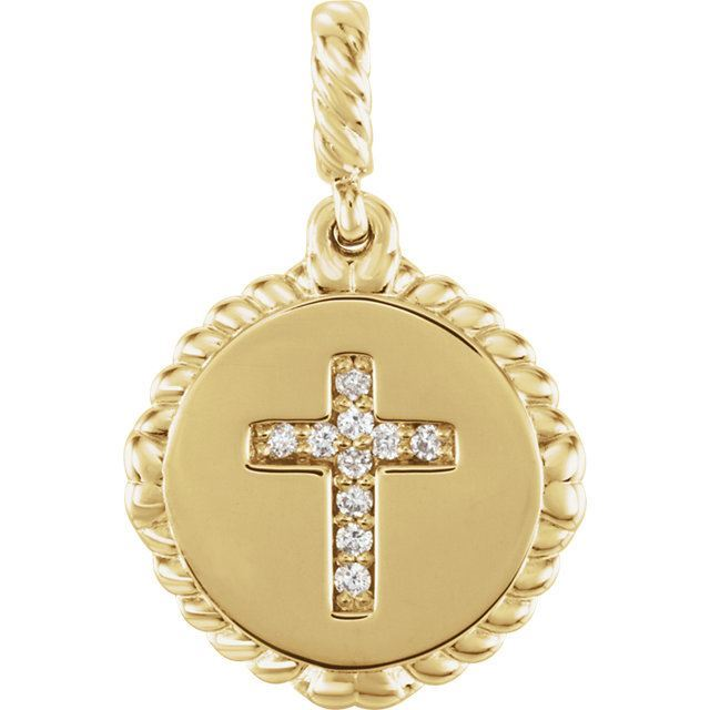 Picture of 14K Gold .05 CTW Diamond Cross Rope Pendant