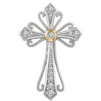 Picture of 14K White & Yellow 1/6 CTW Diamond Cross Pendant
