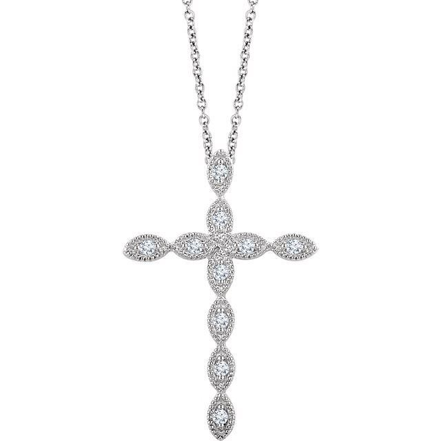 Picture of 14K White 1/10 Diamond Cross Pendant