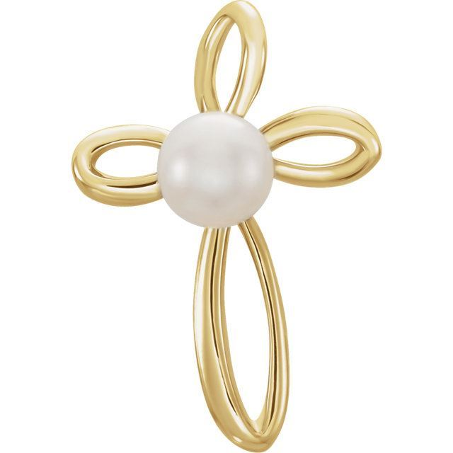 Picture of 14K Gold Freshwater Cultured Pearl Cross Pendant