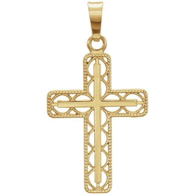 Picture of 14K Gold 28x14.7mm Milgrain Cross Pendant