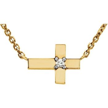 "Picture of 14K Gold .01 CTW Diamond Cross 18"" Necklace"