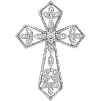 Picture of 14K Gold 1/10 CTW Diamond Cross Pendant
