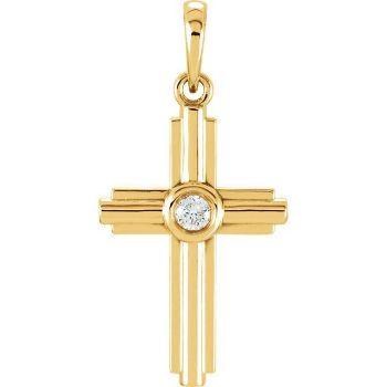 Picture of 14K Gold .06 CTW Diamond Cross Pendant