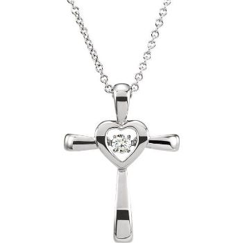 "Picture of 14K Gold .08 CTW Diamond Heart Cross 18"" Mystara® Necklace"
