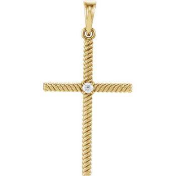 Picture of 14K Gold .03 CTW Diamond 31.95x16.3mm Rope Design Cross Pendant