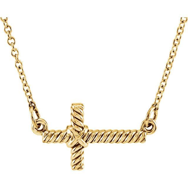 Picture of 14K Gold 11.3 x 20.15 mm Sideways Rope Cross Necklace Center