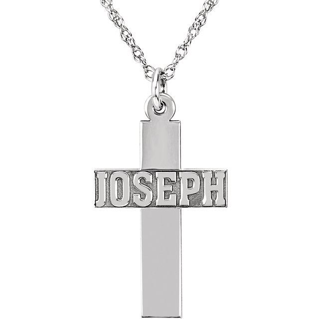 Picture of 14K Gold Nameplate Cross Necklace