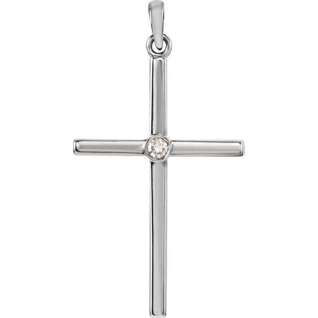 Picture of 14K Gold Diamond Cross 30.6x16.6mm Pendant