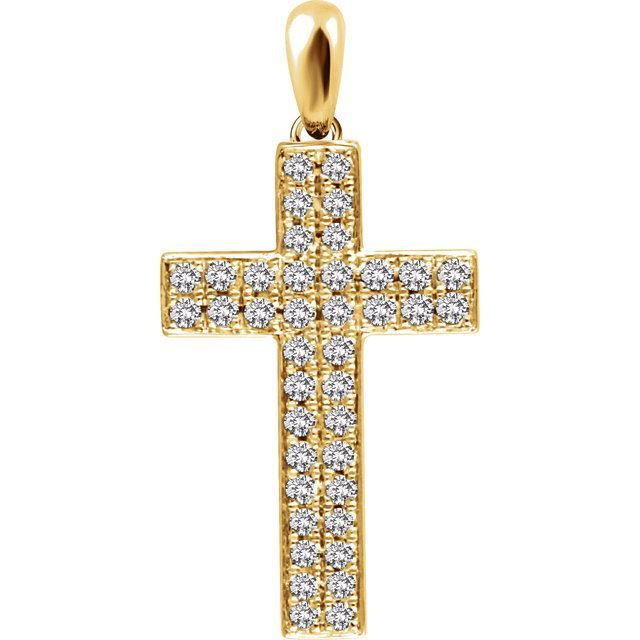 Picture of 14K Gold 1/3 CTW Diamond Cross Pendant