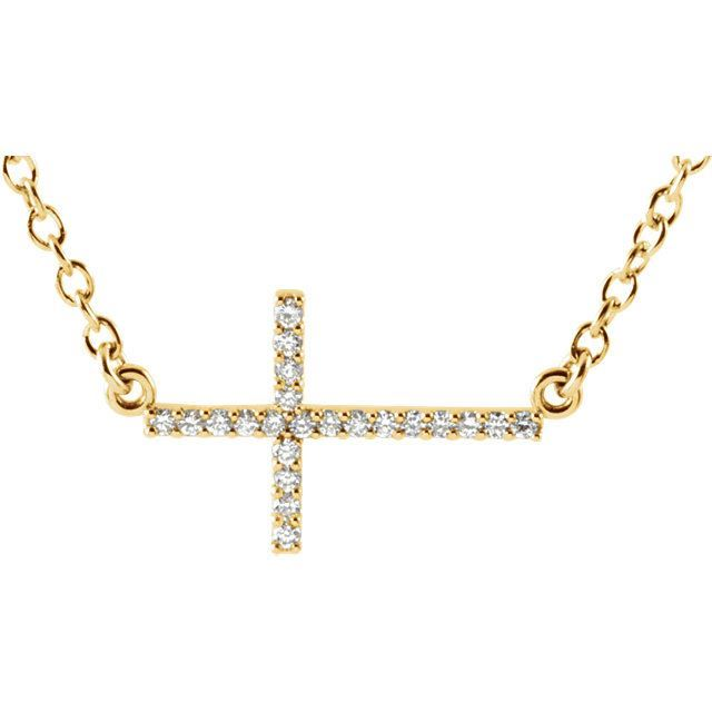 "Picture of 14K Gold 1/8 CTW Diamond Sideways Cross 16-18"" Necklace"