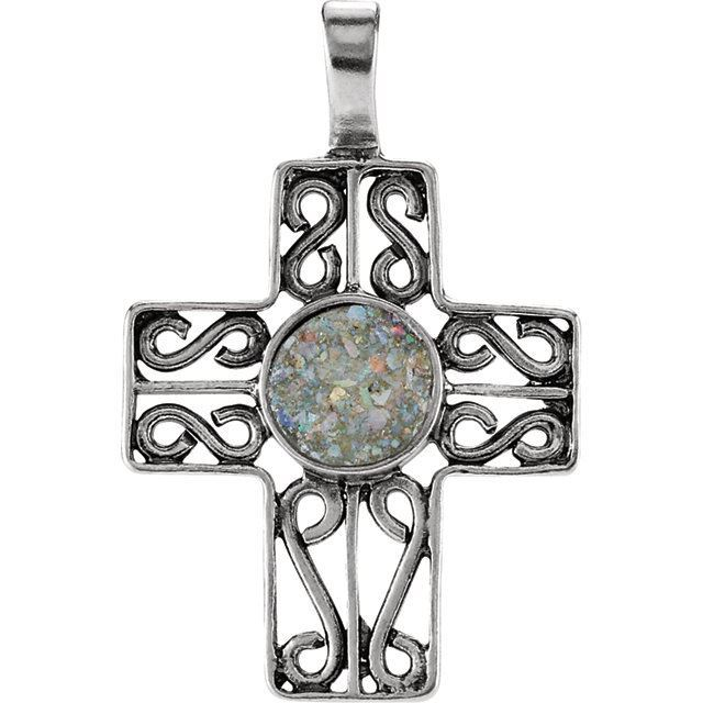Picture of Sterling Silver Cross Pendant with Ancient Roman Glass Design
