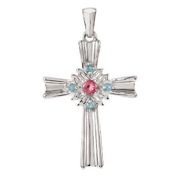 Picture of Sterling Silver Pink Tourmaline & Swiss Blue Topaz Cross Pendant