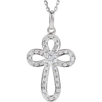 "Picture of Sterling Silver 1/5 CTW Diamond Cross 18"" Necklace"