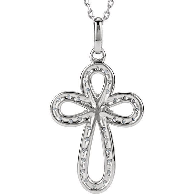 """Picture of Sterling Silver 1/5 CTW Diamond Cross 18"""" Necklace"""