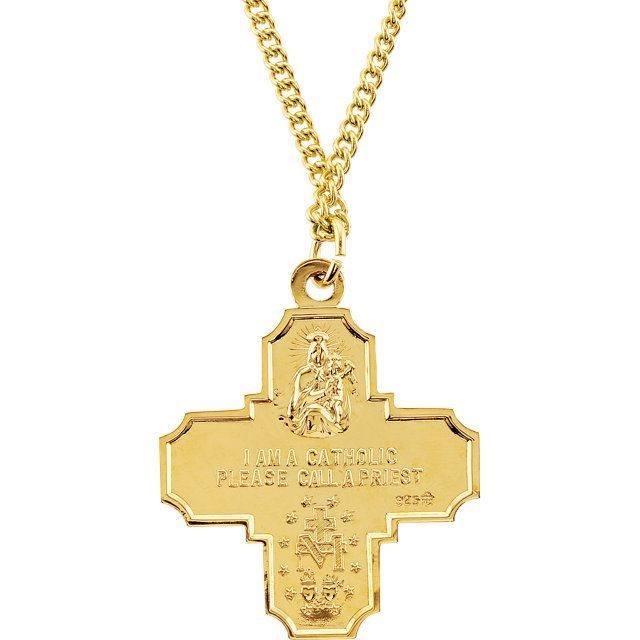 """Picture of 24K Gold Plated 34.51x28.96mm Four-Way Medal 24"""" Necklace"""
