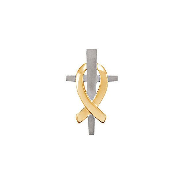 Picture of 14K White & Yellow Gold 20mm Remember Our Troops Cross Pendant