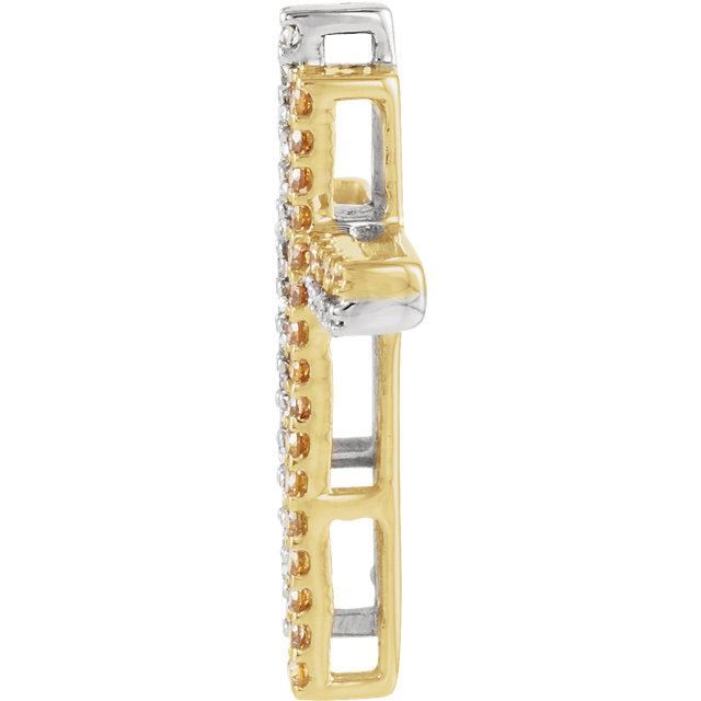 Picture of 14K Yellow & White Gold 1/4 CTW Diamond Double Cross Pendant