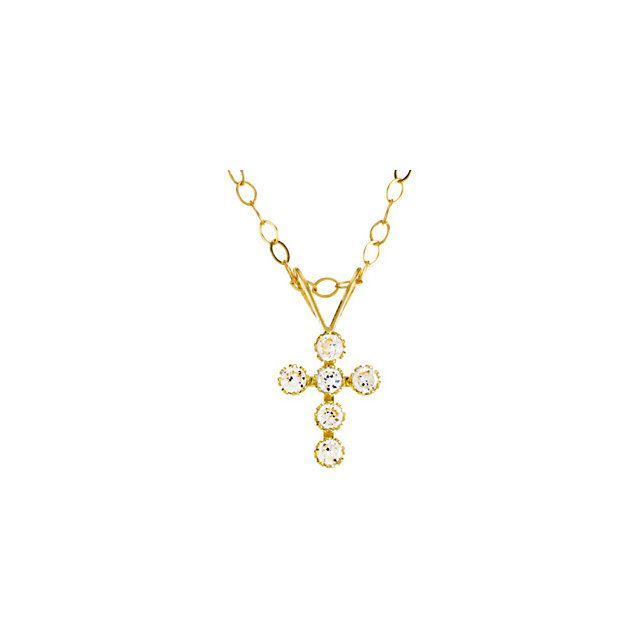 "Picture of 14K Gold Youth Cubic Zirconia Cross 15"" Necklace"