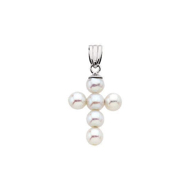 Picture of 14K Gold 19.75x14.5mm Freshwater Cultured Pearl Cross Pendant