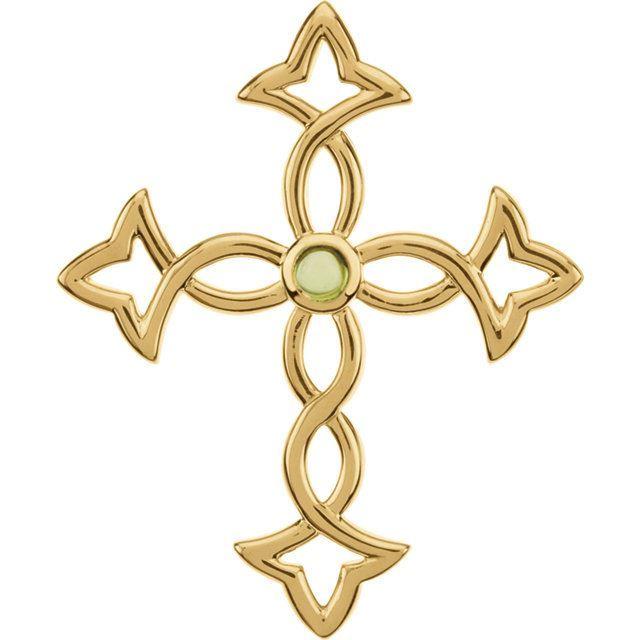 Picture of 14K Gold 44x36.25mm Peridot Fashion Cross Pendant
