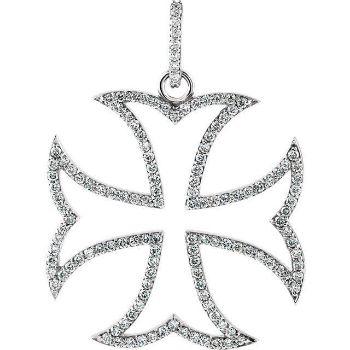 Picture of 14K Gold 3/4 CTW Diamond Maltese Cross Pendant