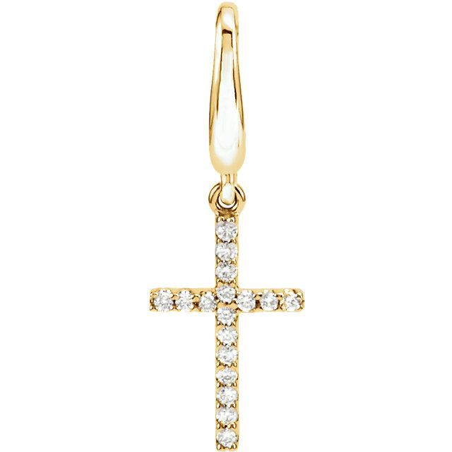 Picture of 14K Gold .08 CTW Diamond Petite Cross Charm