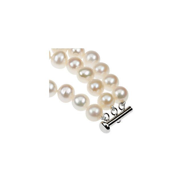 "Picture of Sterling Silver 8-9 mm Freshwater Cultured Pearl Triple Strand 7.25"" Bracelet"