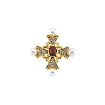 Picture of 14K Gold Cultured Pearl, Garnet & 1/2 CTW Diamond Cross Brooch/Pendant
