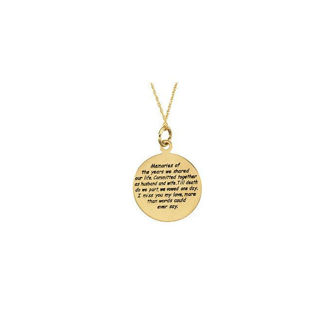 """Picture of 14K Gold 20mm Loss of a Spouse 18"""" Necklace with Box"""