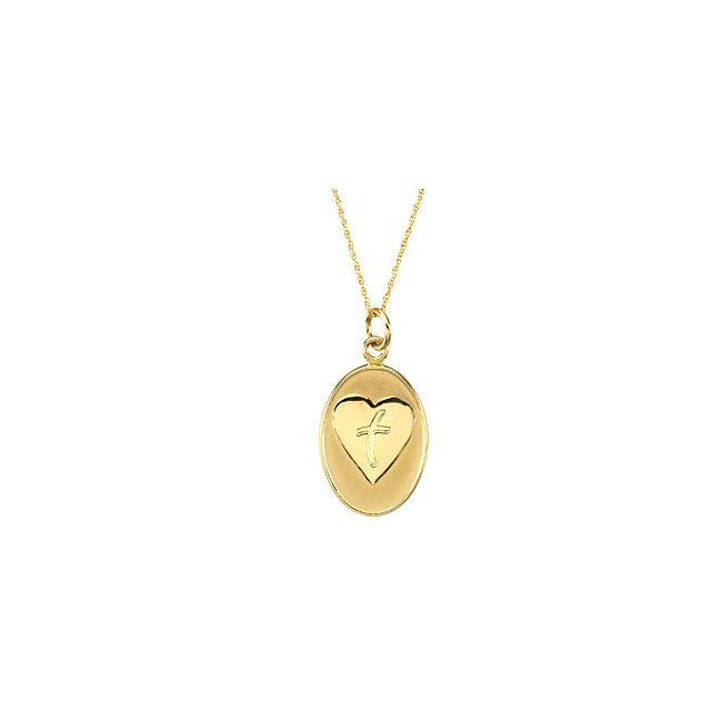 """Picture of 14K Gold 21x15.2mm Loss of a Father 18"""" Necklace with Box"""