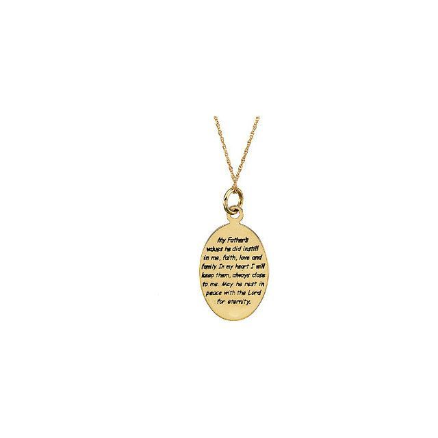 "Picture of 14K Gold 21x15.2mm Loss of a Father 18"" Necklace with Box"