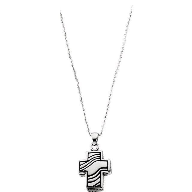 """Picture of Sterling Silver Reversible Prayer Locket™ 18"""" Necklace"""