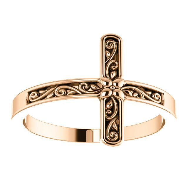 Picture of 14K Gold Sideways Cross Ring