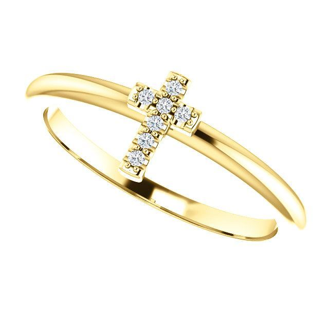 Picture of 14K Gold .03 CTW Diamond Stackable Cross Ring