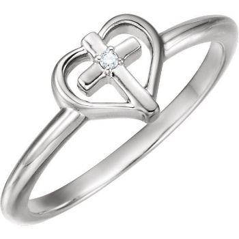 Picture of 14K Gold .01 CT Diamond Cross with Heart Ring