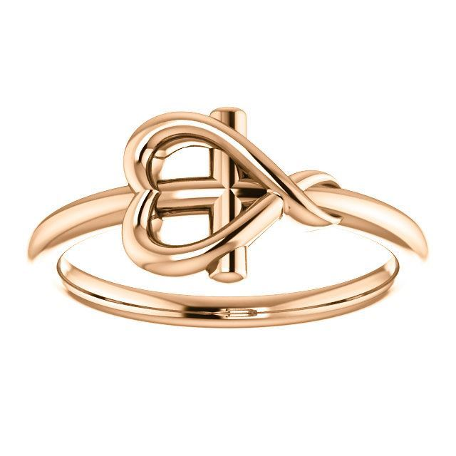 Picture of 14K Gold Cross with Heart Youth Ring