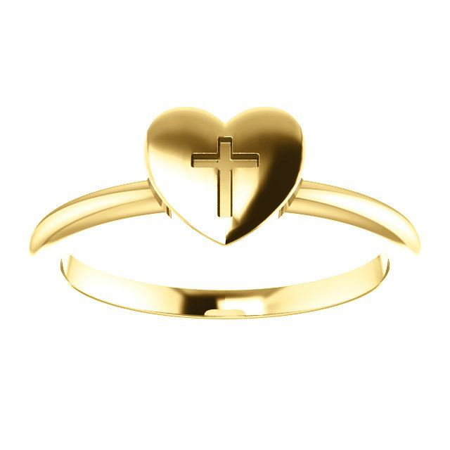 Picture of 14K Gold Heart with Cross Ring