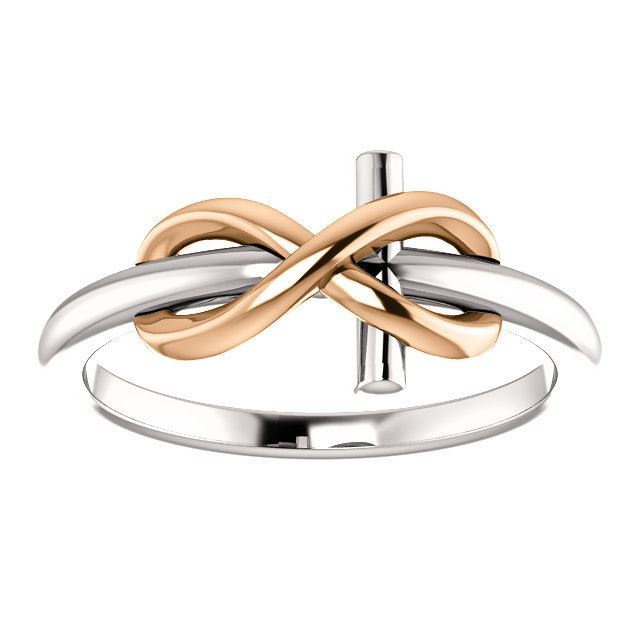 Picture of 14K White & Yellow Gold Infinity-Inspired Cross Ring